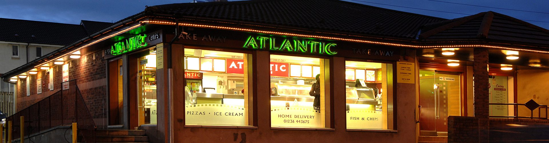 atlantic building outside at night